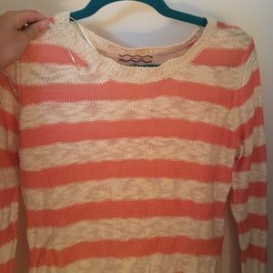 Sweaters - pink and white strip sweater